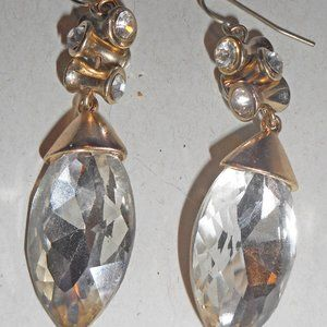 Marquise Drop Faceted Glass Glamour Goldtone ERs